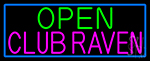Open Club Raven With Blue Border Neon Sign