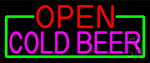 Open Cold Beer With Green Border LED Neon Sign