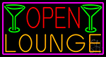 Open Lounge And Martini Glass With Pink Border Neon Sign