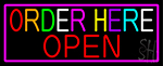 Order Here Red Open With Pink Border LED Neon Sign