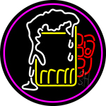 Overflowing Cold Beer Mug Oval With Pink Border LED Neon Sign