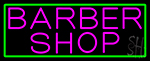 Pink Barber Shop With Green Border Neon Sign