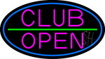 Pink Club Open Oval With Blue Border Neon Sign