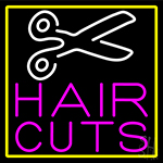 Pink Hair Cut With Scissor Neon Sign