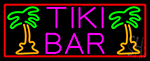 Pink Tiki Bar And Palm Tree With Red Border LED Neon Sign