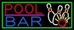 Pool Bar With Green Border Neon Sign