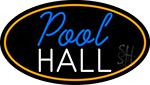 Pool Hall Oval With Orange Border Neon Sign