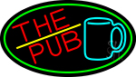 Pub And Beer Mug Oval With Green Border LED Neon Sign