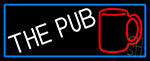 Pub And Beer Mug With Blue Border LED Neon Sign