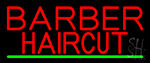 Red Barber Haircuts Neon Sign