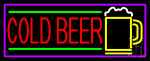 Red Cold Beer And Yellow Mug With Purple Border LED Neon Sign