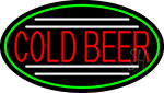Red Cold Beer Oval With Green Border LED Neon Sign