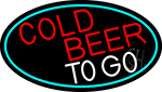 Red Cold Beer To Go Oval With Turquoise Border LED Neon Sign