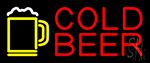 Red Cold Beer With Yellow Mug LED Neon Sign