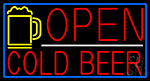 Red Cold Beer With Yellow Mug Open With Blue Border LED Neon Sign