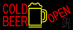 Red Cold Beer With Yellow Mug Open LED Neon Sign