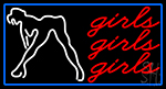 Red Girls Girls Girls Strip Club With Blue Border LED Neon Sign