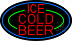 Red Ice Cold Beer With Blue Border LED Neon Sign