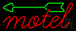 Red Motel With Green Arrow Neon Sign