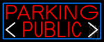 Red Public Parking And Arrow With Blue Border LED Neon Sign