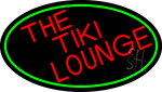 Red The Tiki Lounge Oval With Red Border LED Neon Sign