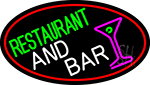 Restaurant And Bar And Martini Glass Oval With Red Border Neon Sign