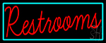 Restrooms With Turquoise Border Neon Sign