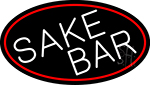 Sake Bar Oval With Red Border LED Neon Sign