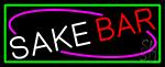 Sake Bar With Green Border LED Neon Sign