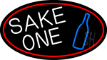 Sake One And Bottle Oval With Red Border LED Neon Sign