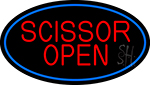 Scissor Open With Blue Border Neon Sign