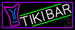 Sculpture Tiki Bar With Purple Border LED Neon Sign