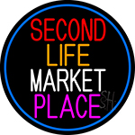 Second Life Marketplace Oval With Blue Border Neon Sign