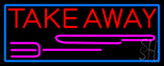 Take Away And Fork With Blue Border LED Neon Sign
