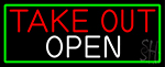 Take Out Open With Green Border LED Neon Sign
