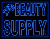 Double Stroke Blue Beauty Supply LED Neon Sign