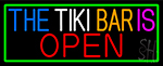 The Tiki Bar Is Open With Green Border LED Neon Sign