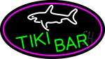 Tiki Bar And Shark Oval With Pink Border LED Neon Sign