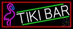 Tiki Bar Flamingo With Red Border LED Neon Sign