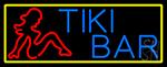Tiki Bar Girl With Yellow Border LED Neon Sign