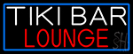 Tiki Bar Lounge With Blue Border LED Neon Sign