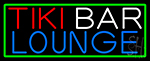 Tiki Bar Lounge With Green Border LED Neon Sign