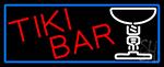 Tiki Bar Martini Glass With Blue Border LED Neon Sign