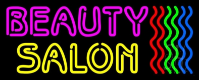 Double Stroke Pink Beauty Yellow Salon LED Neon Sign