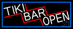 Tiki Bar Open With Blue Border LED Neon Sign