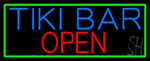 Tiki Bar Open With Green Border LED Neon Sign