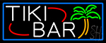 Tiki Bar Palm Tree With Blue Border LED Neon Sign