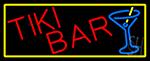Tiki Bar Wine Glass With Yellow Border LED Neon Sign