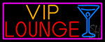 Vip Lounge And Martini Glass With Pink Border Neon Sign