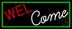 Welcome With Green Border LED Neon Sign